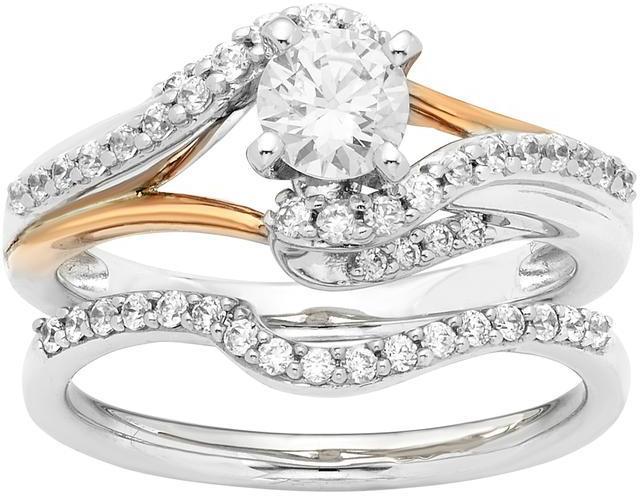 Boston Bay Diamonds 8/9 CT TW Diamond 14K 2-Tone Gold Bypass Swirl 2-Piece Bridal Set