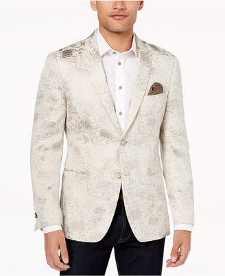 Closeout! Tallia Orange Men's Modern-Fit Gold Leaf-Print Dinner Jacket