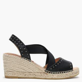 Kanna Black Leather Elasticated Cross Strap Studded Wedge Espadrilles