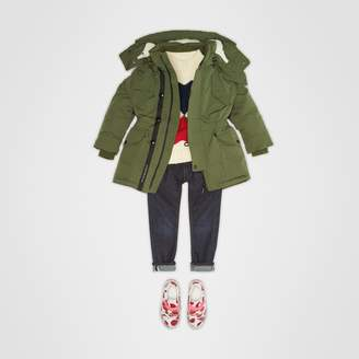 Burberry Detachable Hood Down-filled Parka Coat , Size: 4Y, Green