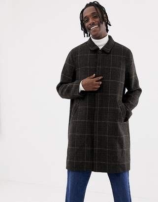 Weekday Carver checked coat in black check