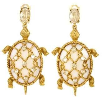 Oscar de la Renta Shell Turtle Earrings