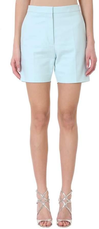 Light Mint Green Cotton-blend High-waisted Tailored Shorts