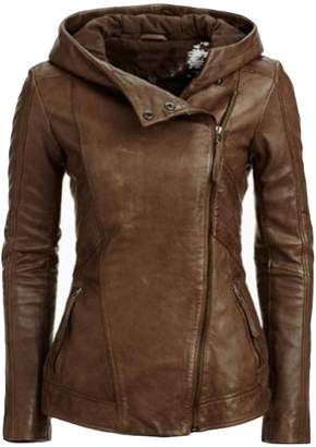 Moto ZAWAPEMIA Women's Faux Leather Bomber Hoodie Jackets S