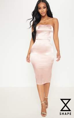 PrettyLittleThing Shape Rose Satin Bandeau Midi Dress