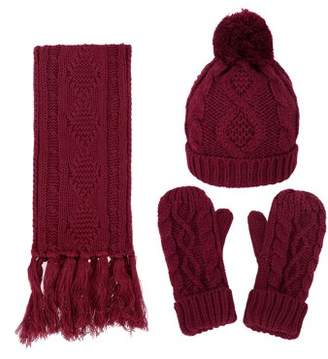 Simplicity 3 in 1 Warm Thick Cable Knitted Hat Scarf Gloves Winter Set, Burgundy