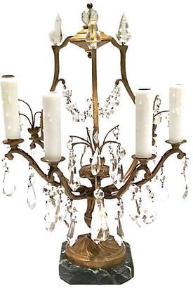 One Kings Lane Vintage Antique Brass & Crystal Girandole Lamp - Vermilion Designs