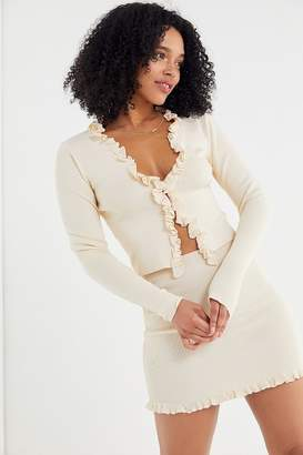Urban Outfitters Ribbed Ruffle Trim Cardigan
