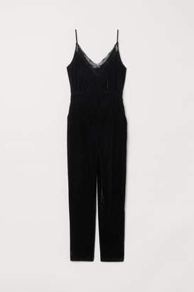 H&M Velvet Jumpsuit - Black