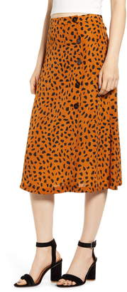 ALL IN FAVOR Animal Print Button Midi Skirt