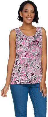 Denim & Co. Floral Print Sleeveless Round Neck Knit Top