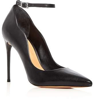Schutz Women's Thaynara Leather Ankle Strap Pointed Toe Pumps