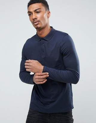 Asos Design Polo Shirt in Jersey In Navy