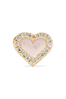 Alison Lou Heart 14-karat Gold, Diamond And Enamel Earring