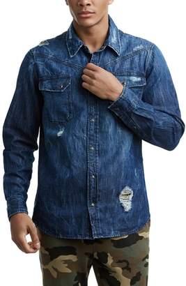 True Religion Brand Jeans Carter Distressed Denim Shirt
