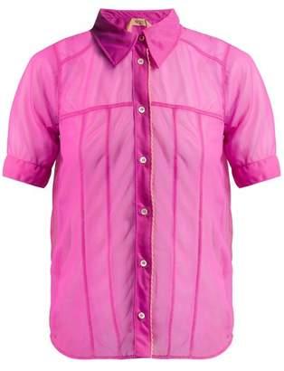 No.21 No. 21 - Short Sleeved Organza Shirt - Womens - Pink