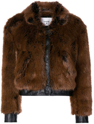 single breasted faux-fur jacket