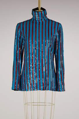 MSGM Striped top with sequins