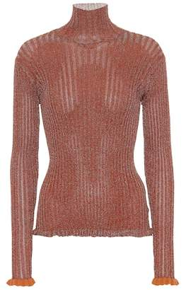 Chloé Ribbed metallic turtleneck top