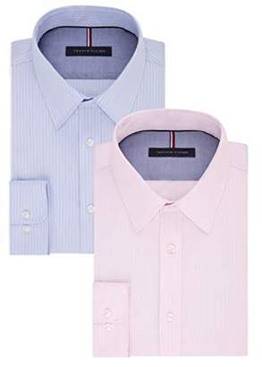 bb16967f Tommy Hilfiger Men's Non Iron Slim Fit Banker Stripe Point Collar Dress  Shirt