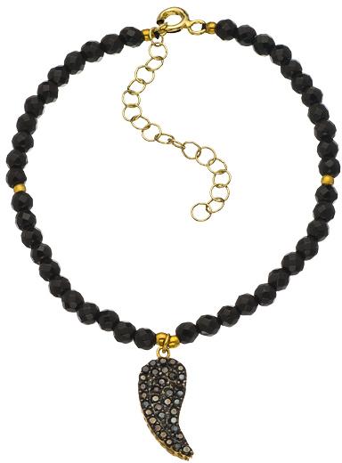 Belair Gold Design Black Angel Wing Bead Bracelet