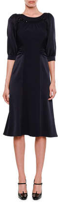 Bottega Veneta Puff-Sleeve Round-Neck Satin-Finish Dress with Crystal Beading