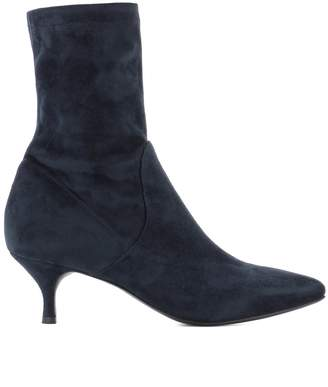 Strategia Blue Suede Heeled Ankle Boots