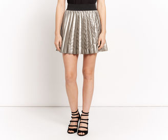 """PLEATED FAUX LEATHER SKIRT [span class=""""variation_color_heading""""]- Antique Silver[/span] $65 thestylecure.com"""