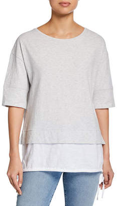 LISA TODD Plus Size Forever Young Slub Cotton Layer Tee w/ Side-Tie Detail
