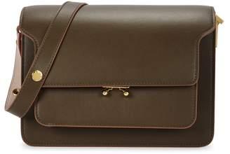 Marni Trunk Medium Olive Leather Shoulder Bag
