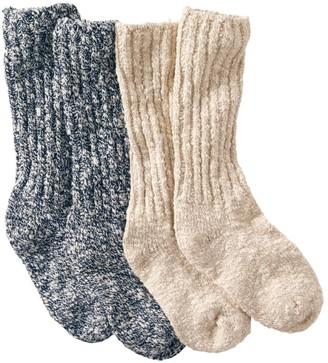 L.L. Bean L.L.Bean Women's Cotton Ragg Camp Socks,Two-Pack