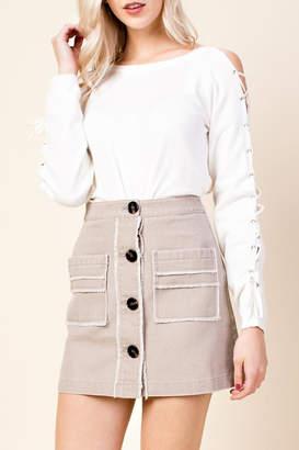 Honeybelle honey belle Frayed Button Skirt