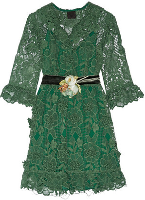 Anna Sui - Camilla Velvet-trimmed Crocheted Lace Mini Dress - Jade $695 thestylecure.com