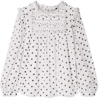 Ulla Johnson Bailey Lace And Tulle Trimmed Polka-dot Voile Blouse - White
