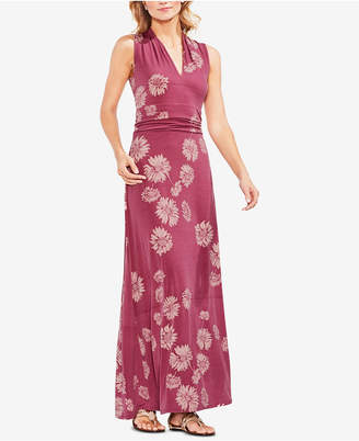 Vince Camuto Printed Ruched Maxi Dress