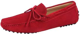 Santimon Men's Suede Leather Driving Walking Moccasins Loafer Lace Shoes