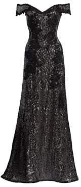 Rene Ruiz Off-The-Shoulder Embellished Gown