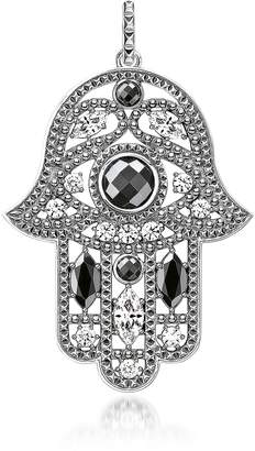 Thomas Sabo Blackened Sterling Silver Hand of Fatima Pendant w/Hematite and Zirconia
