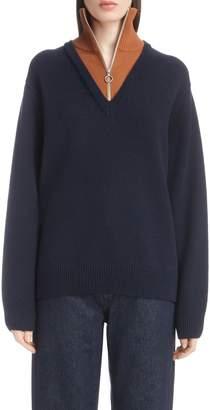 Dries Van Noten Inset Stretch Wool Sweater