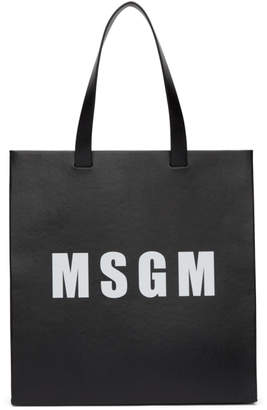 MSGM Black Logo Tote Bag