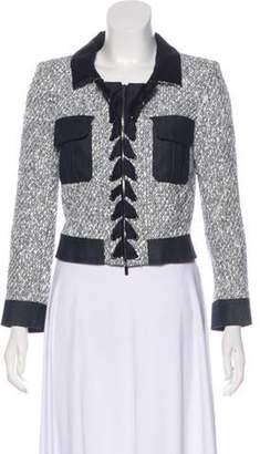 Oscar de la Renta Tweed Lace-Up Jacket White Tweed Lace-Up Jacket