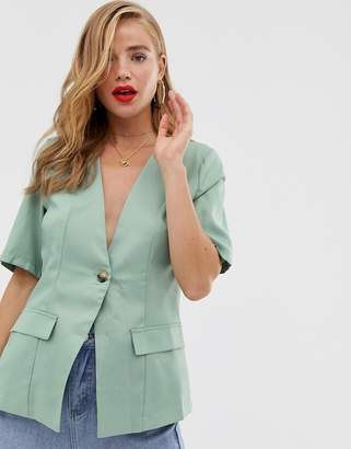 In The Style x Laura Jade short sleeve single breasted blazer in green