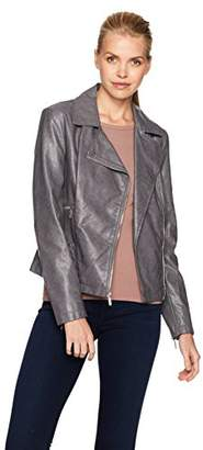 Kenneth Cole Women's Distressed Vegan Leather Moto Jacket with Zipper Details