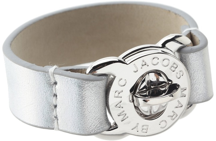 Marc by Marc Jacobs Large Turnlock Leather Bracelet (Light Holographic) - Jewelry