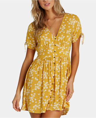 Billabong Juniors' Ruched-Sleeve Button-Down Dress