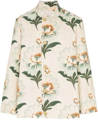 By Walid lotus flower print button-down shirt jacket