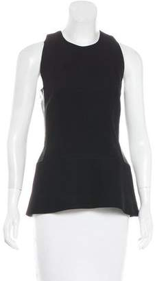 Victoria Beckham Leather-Accented Sleeveless Top