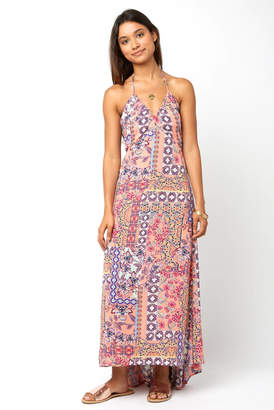 Juniper Blu Halter Multi Printed Gauze Maxi Dress