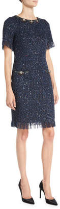 Rickie Freeman For Teri Jon Metallic Tweed Dress w/ Beading & Fringe