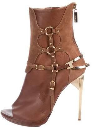 Herve Leger Leather Peep-Toe Boots